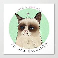 Grumpy cat love Canvas Print