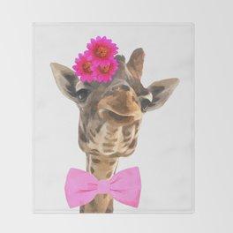 Giraffe funny animal illustration Throw Blanket