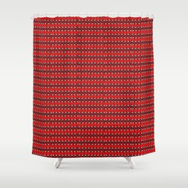 Guitars (Tiny Repeating Pattern on Red) Shower Curtain