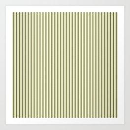 Mattress Ticking Narrow Striped Pattern in Dark Black and Cream Art Print