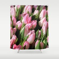 tulips Shower Curtains featuring  Tulips. by Assiyam