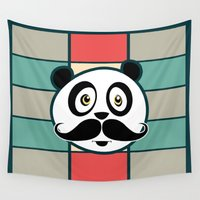 mustache Wall Tapestries featuring Mustache Panda by Adamzworld