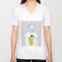 klimt V-neck T-shirts featuring Gustav Klimt portrait by Irene LoaL