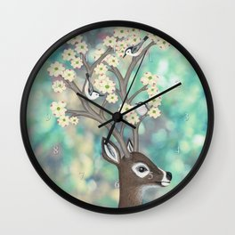 white tailed deer, white breasted nuthatches, & dogwood blossoms Wall Clock