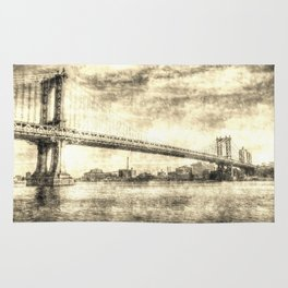 Manhattan Bridge New York Vintage Rug