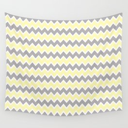 Grey Gray and Yellow Chevron Wall Tapestry