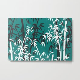 Bamboo Leaves White - black turquoise background Metal Print
