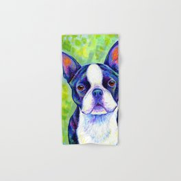 Colorful Boston Terrier Dog Hand & Bath Towel