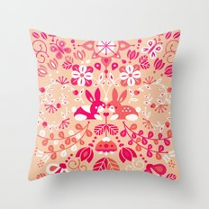 Bunny Lovers – Pink Palette Throw Pillow
