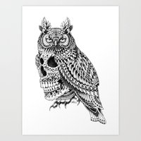 bioworkz Art Prints featuring Great Horned Skull by BIOWORKZ