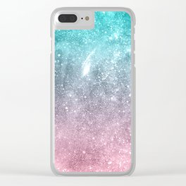 Sea pink viridian green ombre abstract galaxy Clear iPhone Case