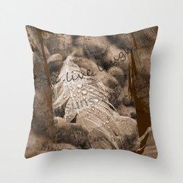 Boho Grunge Sepia Swan Feather and Text Design Throw Pillow