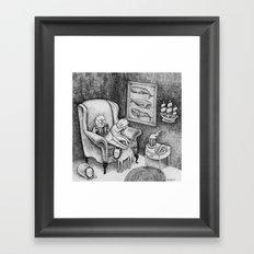 Whale Reader Framed Art Print