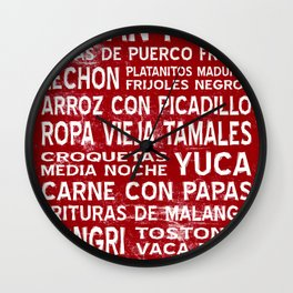 Cuban Food Word Food Art Poster (Red) Wall Clock