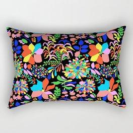 60's Fiesta Floral in Black Rectangular Pillow