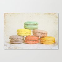macarons Canvas Prints featuring Macarons by Anna Delores