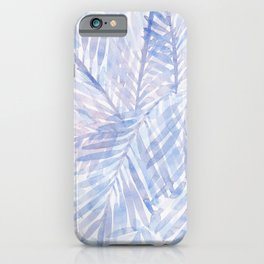 Muted Blue Palm Leaves 02 iPhone Case