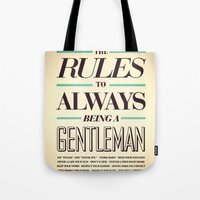 gentleman Tote Bags featuring Gentleman! by ALLGOLD Creative