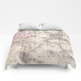 Vintage Map of The World (1864) Comforters