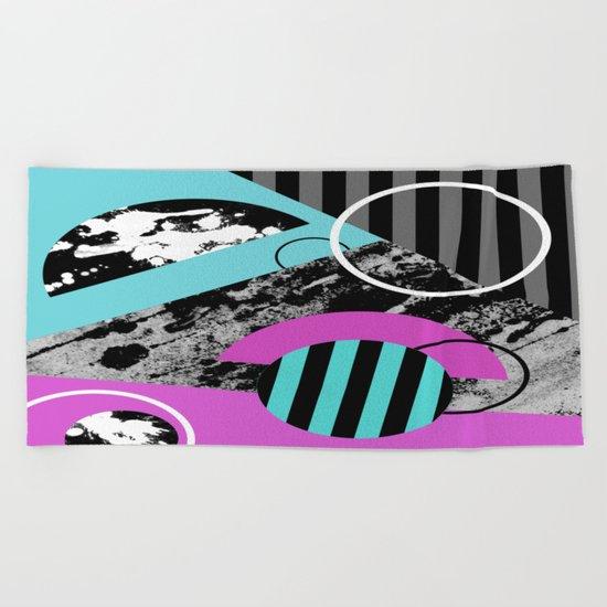 Bits N Pieces III - Abstract, geomtric, random, textured, stripes, black, pink, cyan, artwork Beach Towel