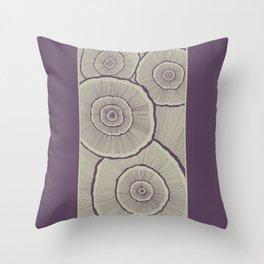 Fungi in Eggplant Throw Pillow