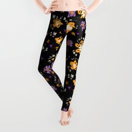 Repeating floral pattern - Bright yellow and deep lilac purple flowers  Leggings