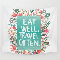 eat Wall Tapestries featuring Eat Well, Travel Often Bouquet  by Cat Coquillette