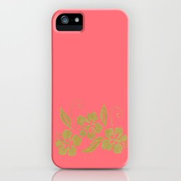 Gold Hibiscus Flowers iPhone Case