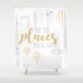 OH THE PLACES YOU'LL GO - HOT AIR BALLOON BEIGE Shower Curtain