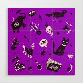 A cat, a skull and other stuff Wood Wall Art