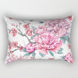 Watercolor crane and pink peonies Rectangular Pillow