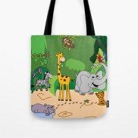 jungle Tote Bags featuring JUNGLE by Rebecca Bear