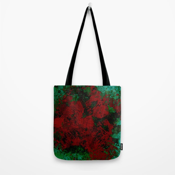Roses Are Red - Abstract, red and cyan painting Tote Bag