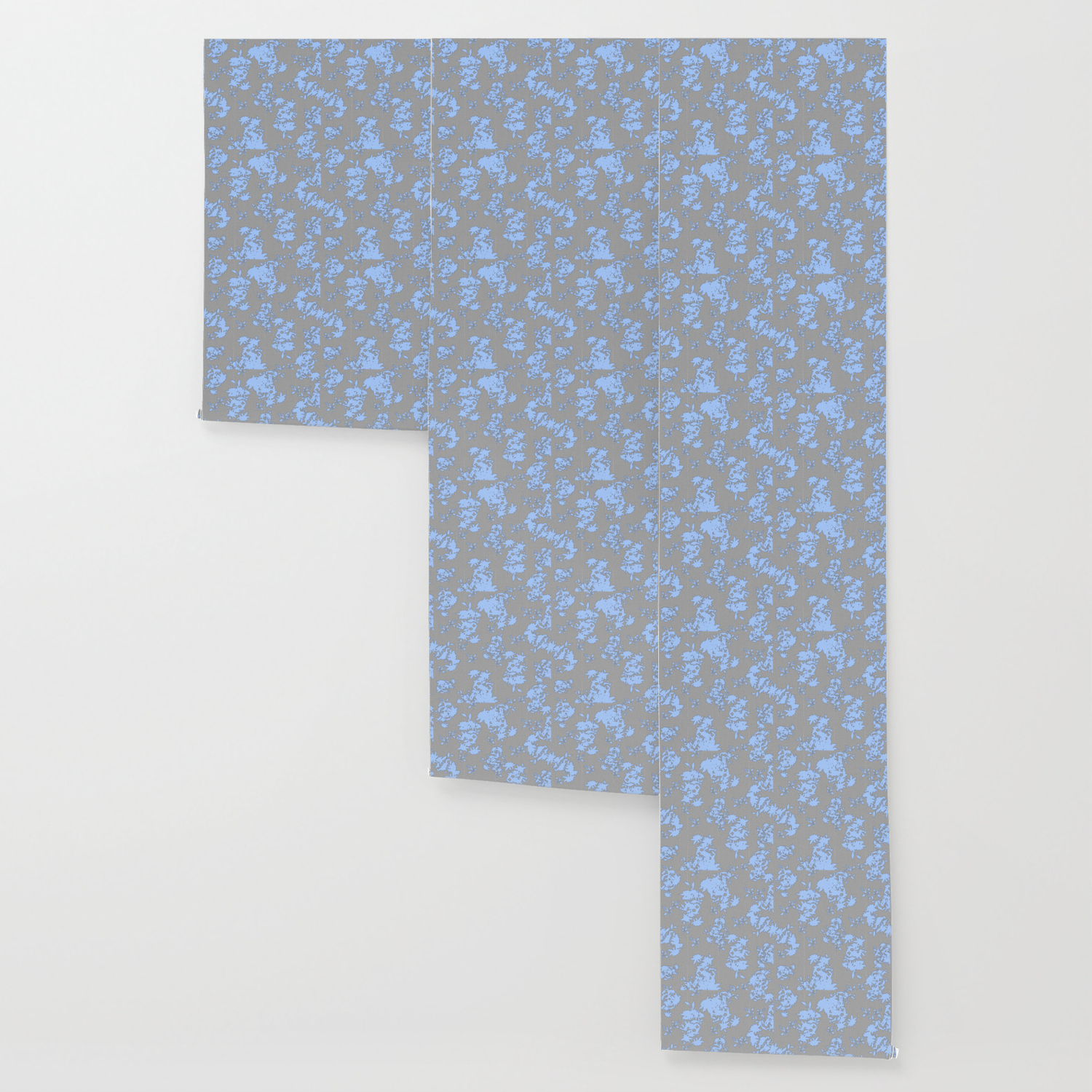Pale Blue Floral Pattern On Medium Grey Burlap Texture Vector Art