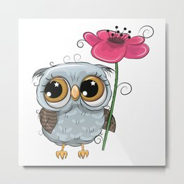 Owl and Flower Metal Print