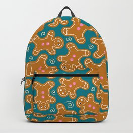 Gingerbread Men on Teal Backpack