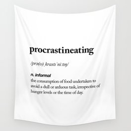 Procrastineating black and white contemporary minimalism typography design home wall decor bedroom Wall Tapestry