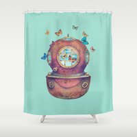 surrealism Shower Curtains featuring Inner Space by Terry Fan