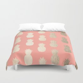 Gold Pineapples on Coral Pink Duvet Cover