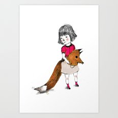 I like wear a Wolf mask, I feel wilder. Art Print