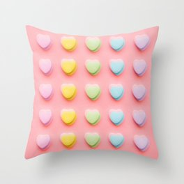 Colorful Hearts Love You Throw Pillow