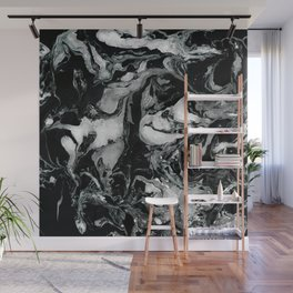 Black and white Marble texture acrylic paint art Wall Mural