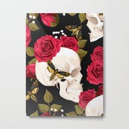 Rose Skulls With Moths Floral Kingdom Sumptuous Fantasy Flower Pattern Metal Print