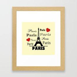 Paris text design illustration 2 Framed Art Print