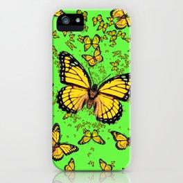 YELLOW BUTTERFLIES GREEN SUMMER ART iPhone Case