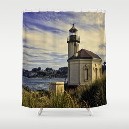 Oregon Coquille River Lighthouse - Watching The River Shower Curtain
