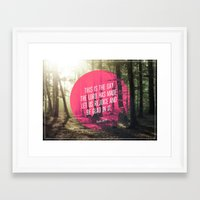 bible verses Framed Art Prints featuring Typographic Motivational Bible Verses - Psalm 118:24 by The Wooden Tree