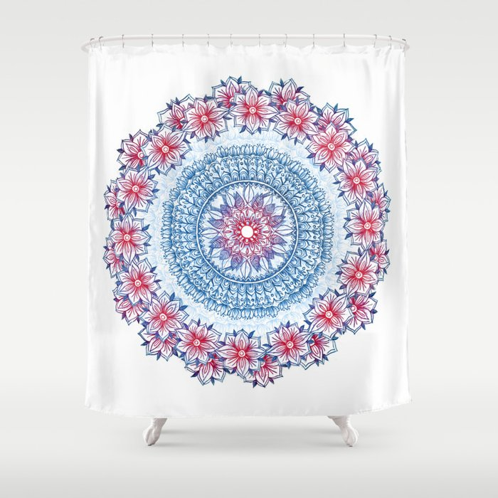 Red Blue White Floral Medallion Shower Curtain By Micklyn