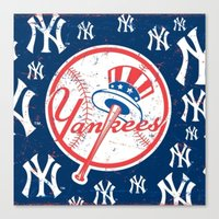 yankees Canvas Prints featuring NY YANKEES by I Love Decor