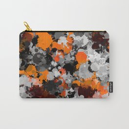 Orange and Grey Paint Splatter Carry-All Pouch
